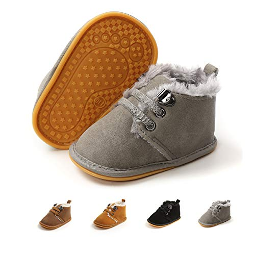 COSANKIM Baby Booties Baby Girl Shoes Winter Warm Fur Lining Non-Slip Lace Up Newborn Boots Infant Toddler First Walker Crib Shoes(12-18 Months Toddler,B-Grey)