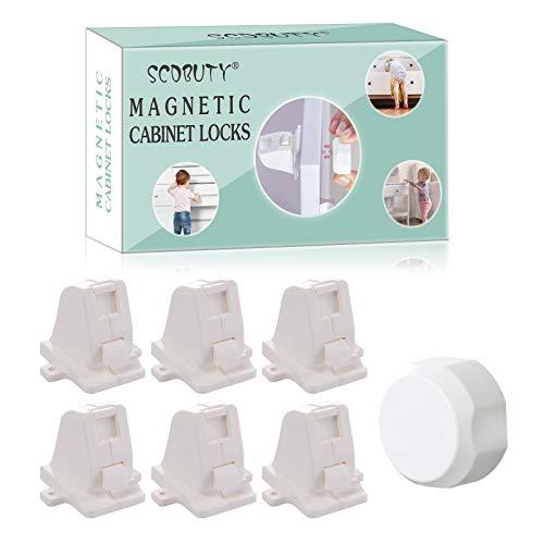 Baby Sicherheit Schrankschloss, Kindersicherung Schrank, Magnetisches Schrankschloss Kindersicherung, Ohne Bohren und Schrauben (6 Schlösser + 1 Schlüssel)