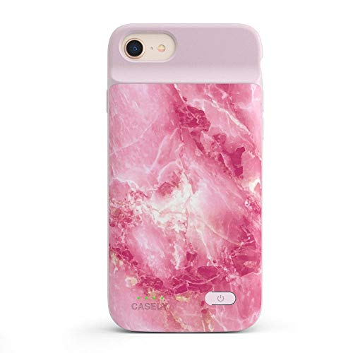 Casely Power 2.0 iPhone Case - Hot Pink Marble Rubber Case - iPhone 6/7/8/SE (2020) Phone Casing - Full-Body Protection Case - Heavy-Duty Shockproof Anti-Scratch Flexible Bumper