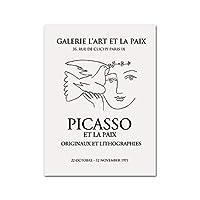 ピカソアートパネルラインドローイングポスターそしてプリント抽象ミニマリスト壁アートパネル有名なキャンバス絵画インテリアモダンリビングルーム写真装飾50x70cmいいえフレーム