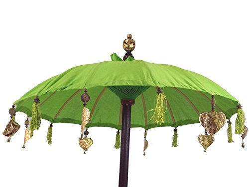 Guru-Shop Zeremonienschirm, Asiatischer Dekoschirm - Lemon, Grün, Sonnen- & Regenschirme