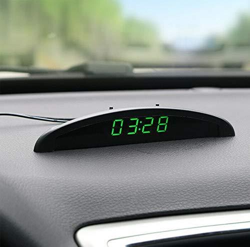 Riloer Reloj de Temperatura del Coche, Voltaje del Termómetro del Reloj Digital del Tablero de Instrumentos Automático Universal con Pantalla LCD para el Interior del Coche, Verde