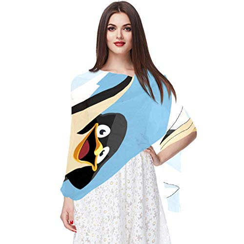 Bennigiry Cartoon, Travel, Penguin, Outfit, Suitcase, Scarf, Infinity Lightweight Long Sheer Wrap Shawl for Women