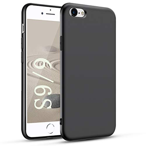 Agedate Funda para iPhone 6/6s, Anti-Choques y Anti-Arañazos, Silicona TPU Case Compatible con iPhone 6/6s Negro Case - Negro