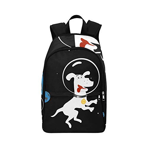 ZXWXNLA Womans Hiking Bag Astronaut Dog Space Puppy Astronomy Durable Water Resistant Classic Casual Weekend Bag Boy Lunch Bags for School Best Backpack Hiking Bag Organizer