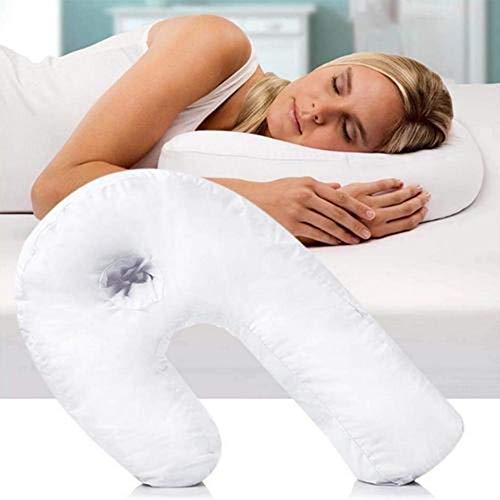 benignpoet Almohada para Dormir de Lado con Forma de U - para Corregir la Columna Vertebral , Hogar y Oficina (Blanco)