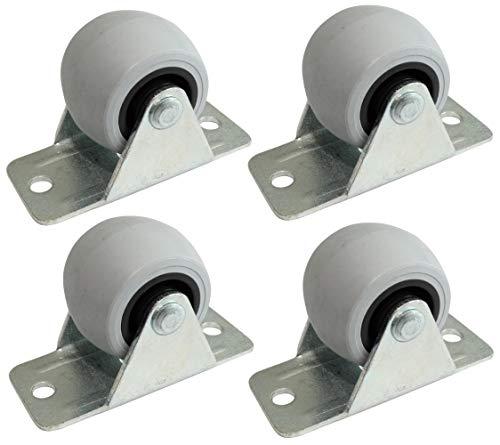 Aerzetix: 4 Rollen für Möbel Durchmesser 32 mm Höhe 37 mm 40 kg Platte 26 x 58 mm C42229