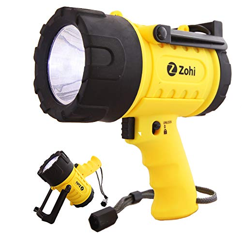Zohi 1500 Lumen LED Waterproof Rechargeable Flashlight/Spotlight | 18 W | Detachable Red Light Filter | Yellow | Home and Car Charger with Cables