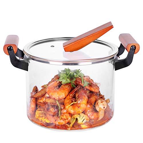 ZHXY Olla de Cocción de Vidrio Transparente,Cazo de Cristal con Tapa,5000ml Resistente al Calor de Vidrio Cocina de quemadores de ollas y sartenes con Tapa,para la Pasta de Fideos,Sopa,Leche