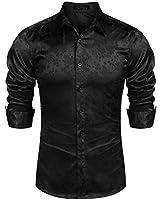 COOFANDY Men's Long Sleeve Satin Luxury Printed Silk Dress Shirt Dance Prom Party Button Down Shirts (XX-Large, Black)
