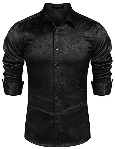 COOFANDY Men's Long Sleeve Satin Luxury Printed Silk Dress Shirt Dance Prom Party Button Down Shirts (Small, Black)