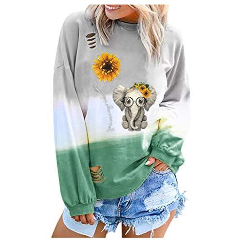 FEISI22❀ Women Crewneck Pullover Tops Casual Color Block Long Sleeve Lightweight Sweatshirt Blouses Pullover Hoodie