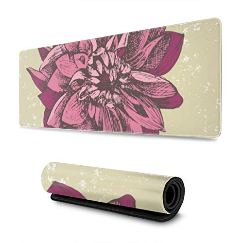 YGVDSE Gaming Mouse Pad Dahlia Flower 30 X 80 cm Mouse Mat, Medium Size Gaming Mouse Pad with Water Resistant Surface, Non Slip Rubber Base