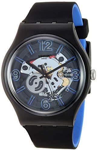 Swatch Herren Analog Quarz Uhr mit Silikon Armband SUOB165