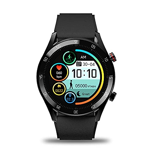 Gionee STYLFIT GSW8 Smartwatch with Bluetooth Calling and Music, Built-in mic & Speaker, Internal Storage, HR Monitoring, Multiple Sport Mode, Full Touch Control (Eclipse Black), Regular