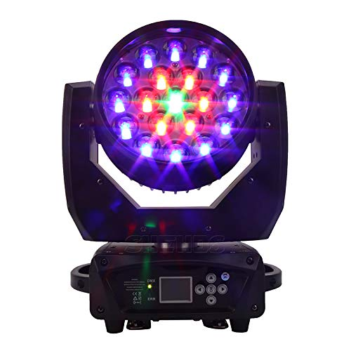 SHESDS LED Beam Wash 19x15W RGBW Zoom Lighting Moving Head Light Stage Lighting Effect with RGBW 4in1 LED and Professional Dmx Control Dj Disco and Nightclub