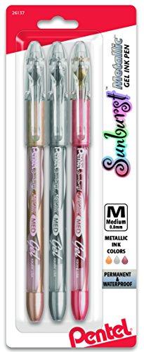 Pentel Sunburst Metallic Gel Pen, Medium Line, Permanent, Gold, Silver, Bronze Ink Pack of 3 (K908MRBP3M)