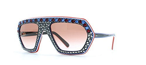 Emilio Pucci Blau-rot-weiß-quadratische Sonnenbrille für Damen