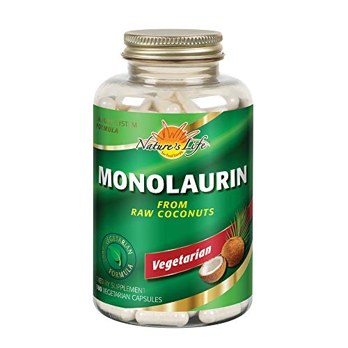 Nature's Life Monolaurin Capsules, 990 mg | Vegetarian | Support for Healthy Immune Function & Digestion | Optimal Wellness Benefits | 180 ct