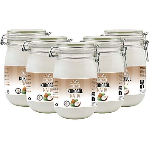 Guru Kokosöl nativ und naturrein -Bio Qualität- 1. Kaltpressung - Rohkost - Vegan - Bio-Kokosfett (5 x 1000ml)