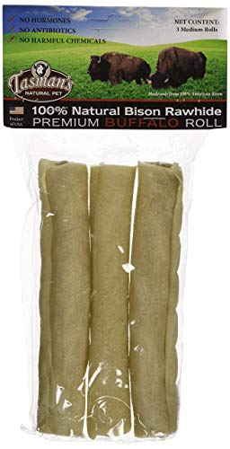 rawhides (6 Pack) Tasman's Natural Pet All-Natural Buffalo Rawhide Rolls, 3 Rolls each