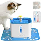 Veken Cat Water Fountain, 2.5L Automatic Pet Water Fountain, Dog Water Dispenser with 3 Replacement Filters and 1 Silicone Mat for Cats and Small to Medium Dogs (Blue)