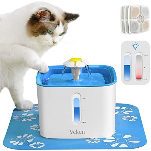 Veken Cat Water Fountain, 2.5L A...