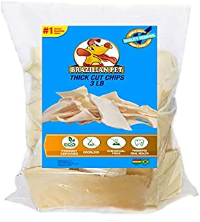Premium Thick Cut Chips, Wholegrain Rawhide (Last Much Longer Than Traditional Chips). 100% Natural. Great Behavioral Dog Chewing Treat Solution. No preservatives.