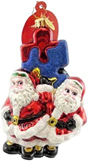 Christopher Radko MIRACLES AWAIT AUTISM Glass Ornament Charity Puzzle Santa by Christopher Radko