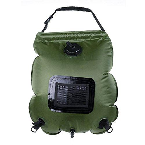 Holzsammlung Douche Solaire 20L Sac d'Eau Chauffé en avec Douchette Portable Douche Camping Multi-Usage pour Voyage Randonnée Escalade Activités Extérieurs #Vert