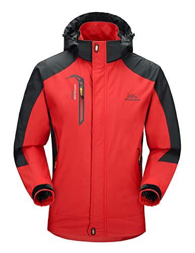 donhobo wasserdichte Regenjacke Herren Softshell Sport Outdoorjacke Funktionsjacken Atmungsaktive Hooded Camping Hiking Jacke (Rot, XL)