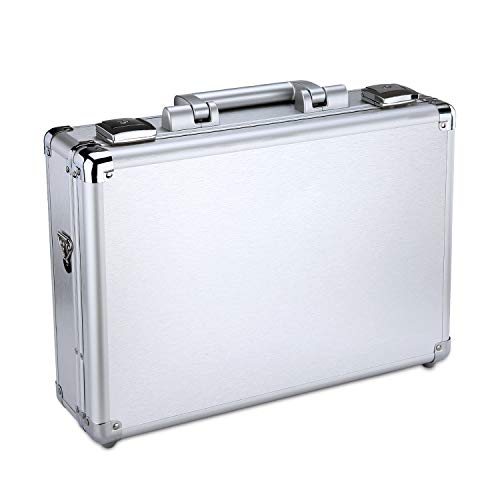 KDLASS Small Briefcase, 14in Laptop Case with Lock Hard Surface Portable Aluminum Case 15.1x10.6x3.6 inch, Suitable for Office and Family,Silver.