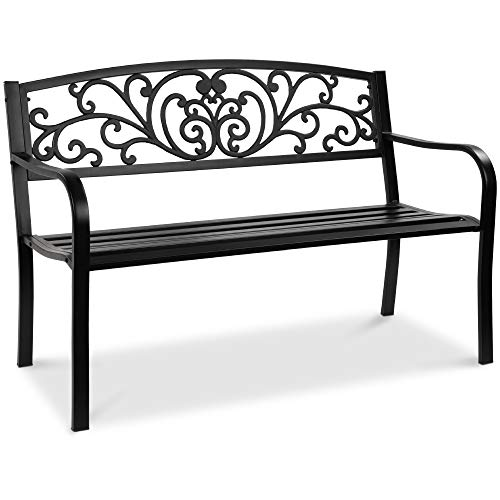 Best Choice Products 50in Steel Garden Bench for Outdoor, Park, Yard, Patio Furniture Chair w/Floral Design Backrest, Slatted Seat - Black