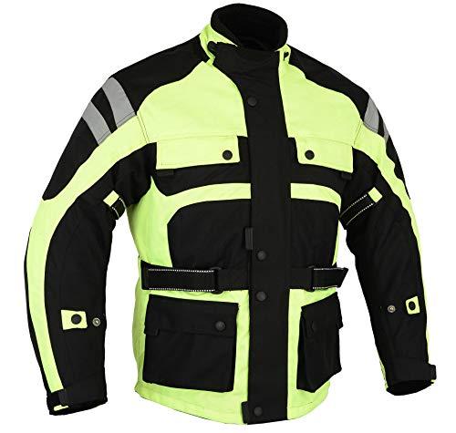 Australian Bikers Gear Motorrad-Jacke, sehr Gute Sichtbarkeit, wasserdicht, Thermo-Gewebe, Belüftung, mit Protektoren, 132,1cm