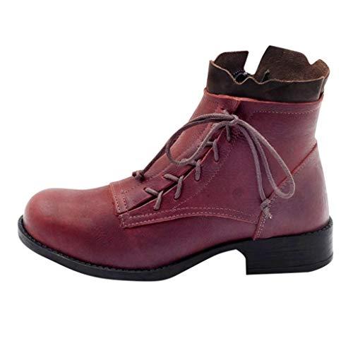 Stivali da Donna in Pelle Antiscivolo Punta Tonda Cerniera Laterale con Lacci Tacco Basso Scarpa Caviglia (39,Rosso)