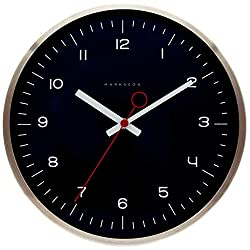 Marksson The Crosby Stainless Steel Wall Clock Silent Non-Ticking Wall Clock, 12 Quartz, Premium Materials, High End Mechanism, Ten Colors (Midnight/Red)