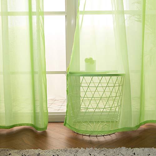 MIULEE Tende Trasparenti con Occhielli Morbidi Finestre per Salotto Eleganti Soggiorno per Camera da Letto e Tende Cameretta Bambini 2 Pannelli 140x280cm Verde Chiaro