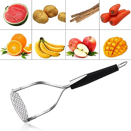 Triturador de patatas, utensilios de cocina de acero inoxidable, triturador de verduras con asa. Exprimidor de patatas, verduras y frutas