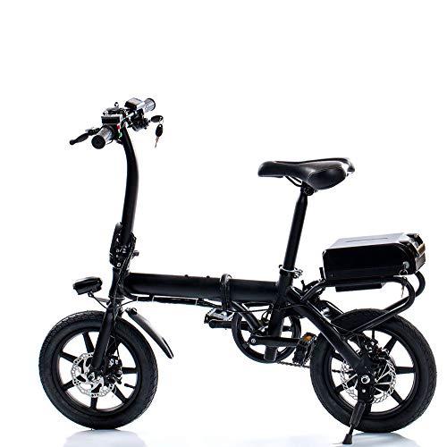 ZXY Bicicleta de montaña eléctrica 25W / 240W Velocidades de Bicicleta de hasta 14 Pulgadas Beach Cruiser Sports Mountain Bikes Suspensión Completa, batería de Litio Frenos de Disco hidráulico,Negro