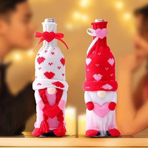 HEITIGN 2 Piezas Decoración De Fundas De Botella De Vino De Felpa, Juego De Vino Tinto para Decoración del Día De San Valentín, Muñecas Sin Rostro Hechas A Mano, Fundas De Vino De San Valentín