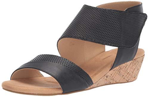 Rockport Women Calia 2 Piece Sandal Wedge, Black, 9.5 W US