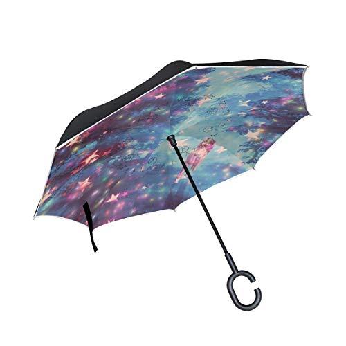 HYJDZKJY Paraguas invertidos de Doble Capa Paraguas Plegable