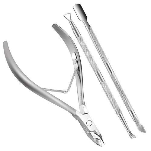 Cuticle Nippers and Cuticle Pusher Manicure Tools Set - Professional Nail Cuticle Remover Cutter Clippers Tool for Gel Nail Art Fingernails Toenails,Stainless Steel, Travel, Gift,Spa