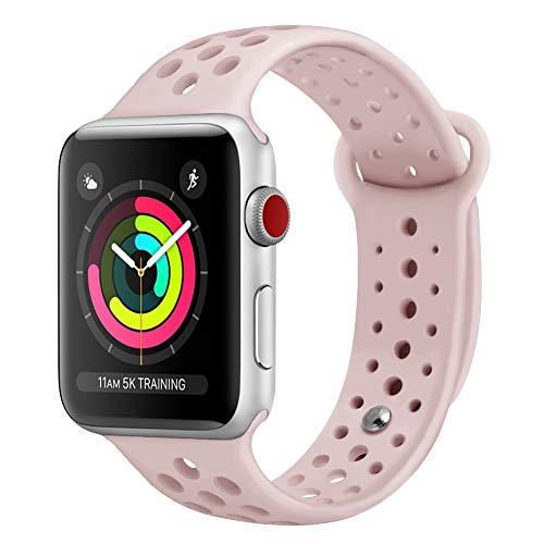 OenFoto Sportivo Cinturino compatibile per Apple Watch 42mm 38mm, Silicone Morbido Ricambio Cinturino iWatch compatibile per Apple Watch Sport, Serie 1, 2, 3, 4, Rosa/sabbia