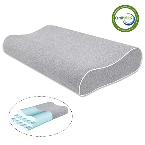 Mugetu Gel Infused Memory Foam Pillow Height Adjustable Cervical Pillow...