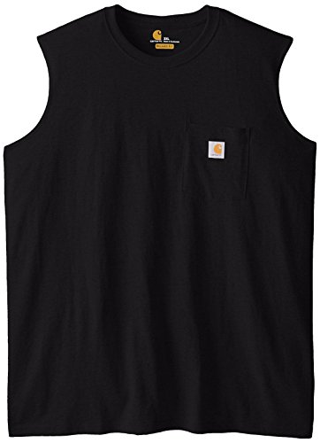 Carhartt Men's Big & Tall Workwear Pocket Sleeveless Midweight T-Shirt Relaxed Fit,Black,XXXX-Large