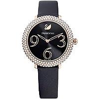 Swarovski Women's Crystal Frost Watch, Leather Strap, Rose-Gold tone (Black)