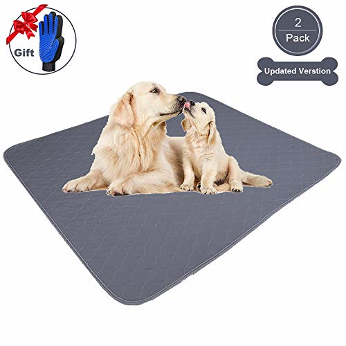 JdPet Washable Pee Pads for Dogs Extra Large | Free Grooming Gloves,Reusable Non Slip Puppy Pad with Fast Absorbent,100% Leak-Proof Waterproof mats for Training,Floor,Whelping,Playpen,Crate Categories