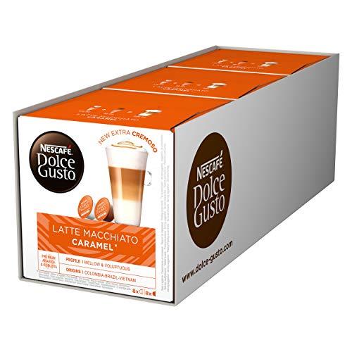 Nescafé Dolce Gusto Caramel Latte Macchiato, Karamell, Kaffee, Kaffeekapsel, 3er Pack, 3 x 16 Kapseln (24 Portionen)