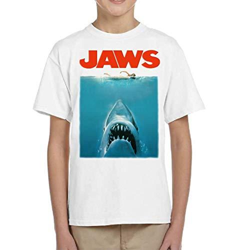 Camiseta de NIÑOS Varios Peliculas Divertidas Retro Tiburon Shark Jaws 017 9-10 Años